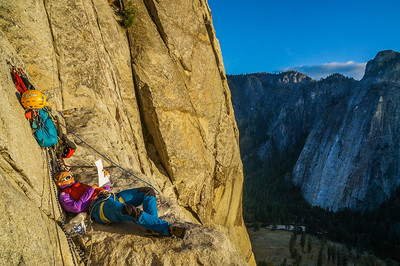 Chiilin' on El Capitan. Yosemite Valley, California.
