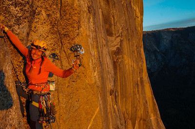 Katrin breaking out the big boy on pitch 19 of the Salathe Wall, El Capitan. Yosemite Valley, California.