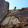 Carol on second rappel, Johnny Vegas. All those climbing-friendly features make for an awesome rope pull...