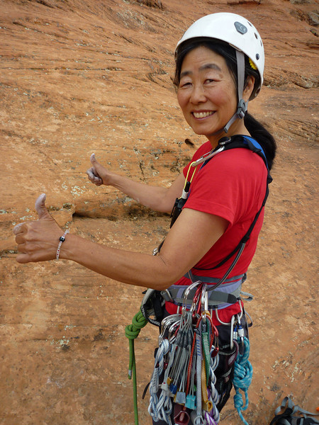 Carol ready for her first trad lead - The Barbarian, Snow Canyon SP