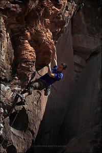 Paul Snow flashes Fear and Loathing 5.12a at Gallery Wall, Red Rock Canyon.