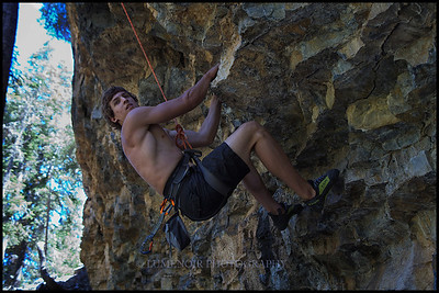 Chris Forte prospecting Route Formerly Known As Top Rope 5.11c at Yellow Pine, Mt. Charleston.