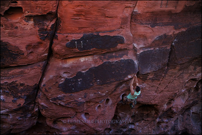 Nick Schultz making progress on Nightmare on the Crude Street 5.10d at Black Corridor, Red Rock Canyon.