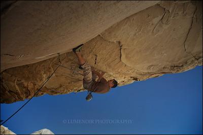 Paul Snow Climbing Meat Locker 5.13b at Red Rock Canyon, Nevada.