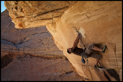 Paul Snow attempting Meat Locker 5.13a route at Trophy Wall crag.