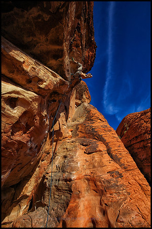 Paul on The Glitch 5.12c route at Gallery Wall in Red Rock Canyon.
