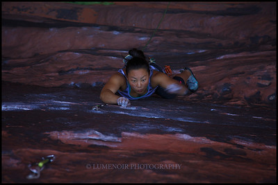 June Yi in Black Corridor on Crude Boys route 5.10d.
