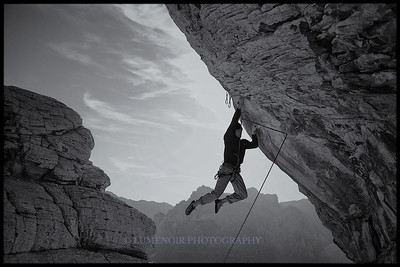 Paul Snow climbing Keep Your Powder Dry 5.12b route on Trophy Wall.