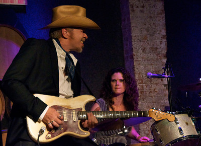 Dave Alvin with Lisa Pankratz, one of the best drummers around.