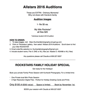 Allstar Auditions pricing 2016