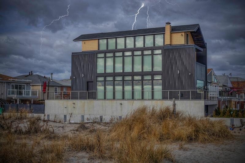 Lightning Over House In Belle Harbor