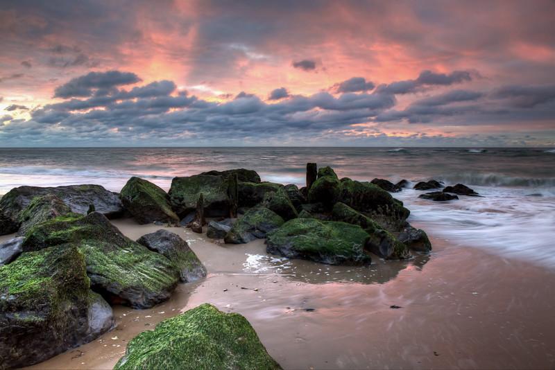 Green Rocks Pink Sky