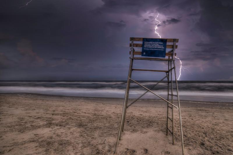 Lightning At Lifeguard Chair