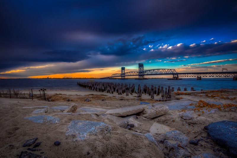 Blue Storm Clouds Over Marine Parkway Bridge