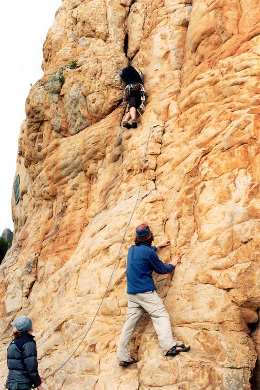 Val does her first lead climb (awww) on Camelot (10),  while Megan belays and Ben demonstrates his Teva bouldering skills