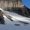 Enormous slab avalanche from underneath Bugaboo Spire