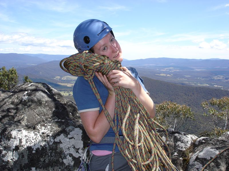 Sair poses with her first brand new rope (awwww) on top of Sugarloaf at the Cathedral Ranges