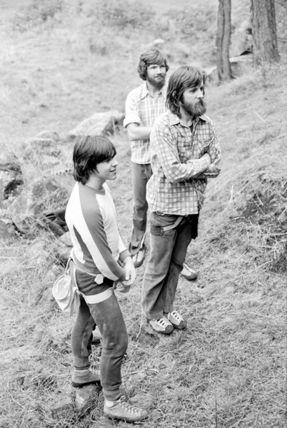 1981. Mark Buchanan, Graeme Hoxley and Dave Mclean at Plenty Gorge. This was one of the most popular climbing / bouldering areas close to Melbourne before it was banned by the land owner. We used to hang out after work and on Sunday afternoons. Nice spot.