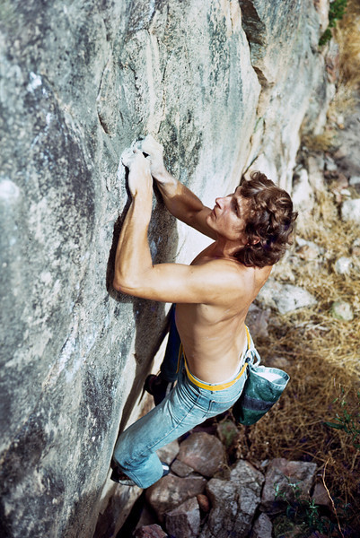1979. Mike Graham bouldering at Arapiles. Mike really made me sit up and take notice as to what could be achieved at Arapiles.