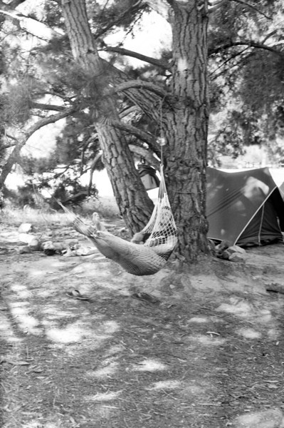 1981. Guy Cotter (NZ) relaxing in his hammock. The Pines, Mt Arapiles.