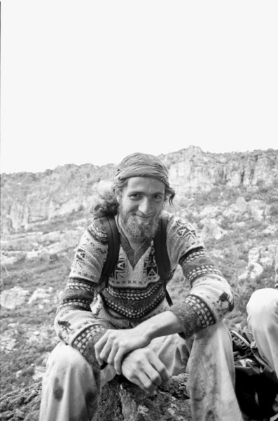 1980. Peter von Gaza (US) at Arapiles. I'd climbed with Peter in Yosemite Valley and he had decided to visit Araps and see what all the fuss was about. A great bloke and a genuine character, he fitted into the Arapiles scene really well.
