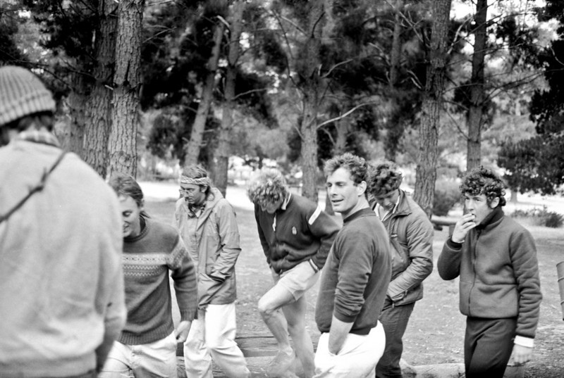1981. 10th October. The boys at the Pines. From left, Paul Daniels (back to the camera), Mark Moorhead, Eddy Ozols, Roddy McKenzie, Seamus Brennan (US), Mike Law Smith and Lucas Trihey. Mt Arapiles.