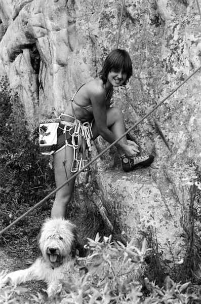 1981. Carole Bradley about to start up Wild Oats (19) at Arapiles. Back in those days dogs were a common sight at the base of the cliffs. This beautiful dog belonged to Bob Killip. The EB shoes that Carole is lacing up were the 'new' machine-constructed ones we called 'bubble boots' and which were universally hated.