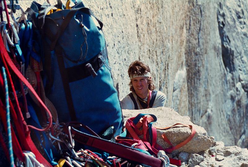 1979. Yosemite Valley, USA. Matt Taylor reaches the Bismark Ledge on Mescalito, El Capitan.
