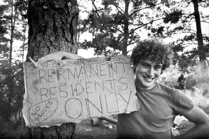 1981. John Smoothy with a sign of the times. Mt Arapiles.