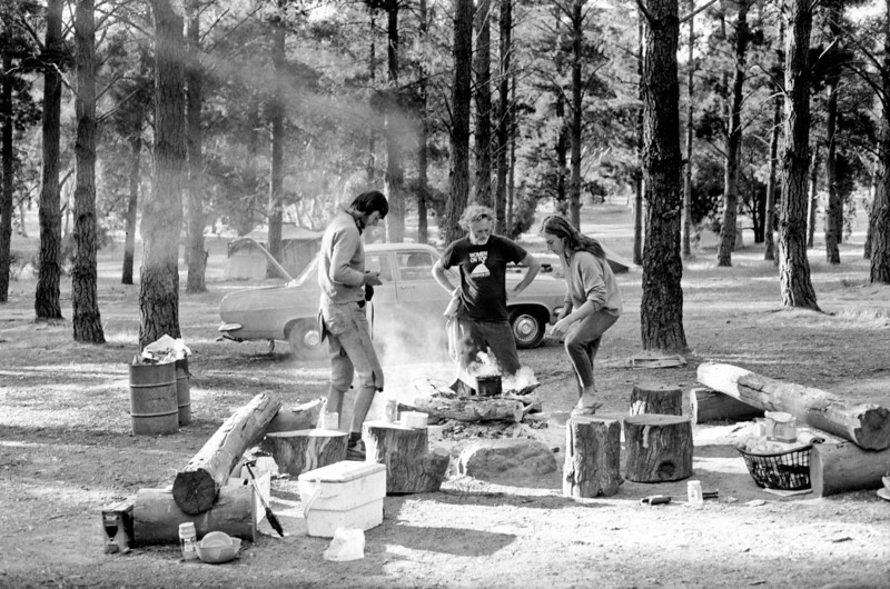 1981. Paul Daniels, Dennis Kemp and Mark Moorhead around our fire in the Pines, Arapiles.