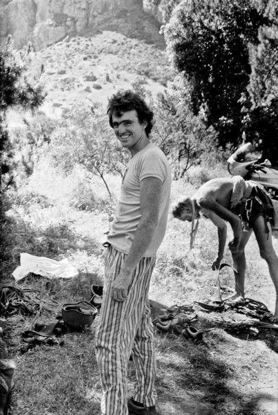 1981. Mike Law at Mt Arapiles. Dennis Kemp sorting gear behind.