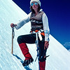 1981. Carole Bradley strikes the pose for the 'best dressed mountaineer of 1981' award. We were on the Southwest Ridge of Mt Aspiring in New Zealand. It was Carole's first alpine climb. She did quite a bit of climbing for a few short years and these days lives in Queensland.
