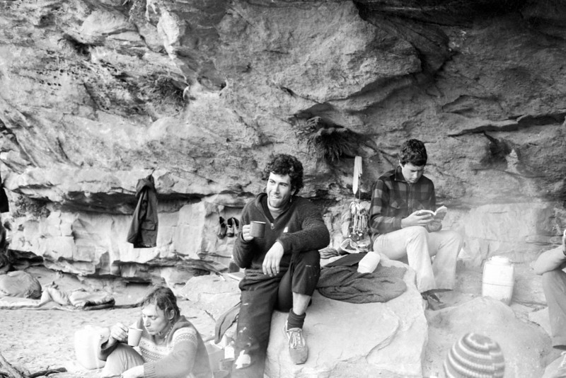 1981. Mark Moorhead (left), Kim Carrigan and Greg Garnham in the old camping cave at Bundaleer, Grampians. We were all there for a week, it never stopped raining and we hardly climbed at all.