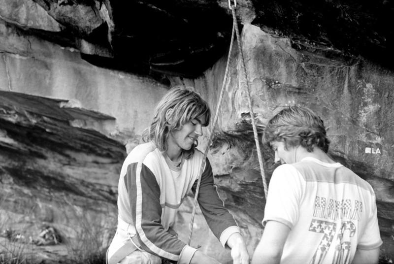 1981. Chris Shepherd borrowing some of Simon Parson's chalk at Black Ians Rocks.