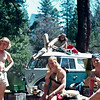 1979. Tim Forsell, John Harlin Junior, Dave Strickly and Peter von Gaza (on the VW). Yosemite Valley National Park, California, USA.