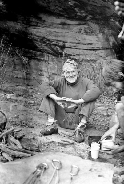 1981. Dennis Kemp at Black Ians Rocks, Grampians National Park. Paul Daniels making a cup of tea. In many ways Dennis was a father figure to me. He taught me that there was no real generational gap when it came to the love of climbing. Dennis climbed purely for the enjoyment and love of it. He was a inspiration to us all. He died in an accident on Birdman of Alcatraz in 1990. He was 67 years old.