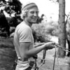 1980. October. Steve Lassche (NZ) belaying in the pines at Mt Arapiles.