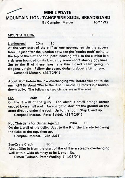 Victoria. Mini update to Mountain Lion, Tangerine Slide and Breadboard. 1992
