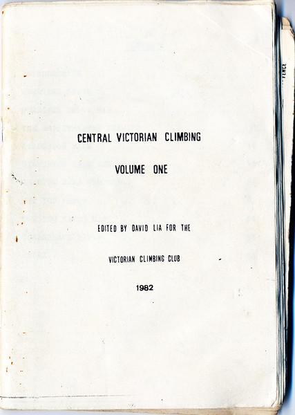 Victoria. Central Victorian Climbing. David Lia. 1982