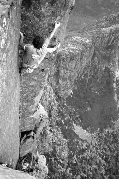 1983. February. Russ Clune (US) leading Black Man's Country (25). The Acropolis North Face. Lake St Clair, Tasmania.