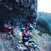 1983. February. The bivvy cave below teh East Face of Mt Geryon. Lake St Clair, Tasmania.