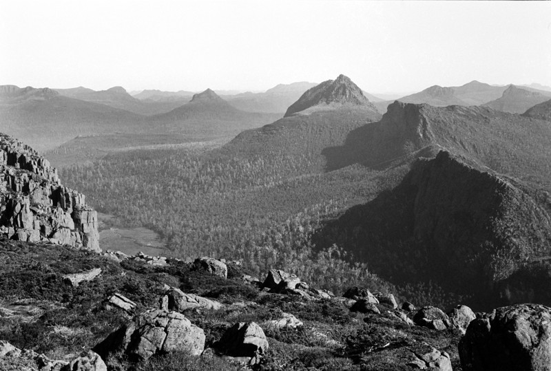 1983. February. Mt Gould and the Guardians from the top of the Acropolis. Lake St Clair, Tasmania.