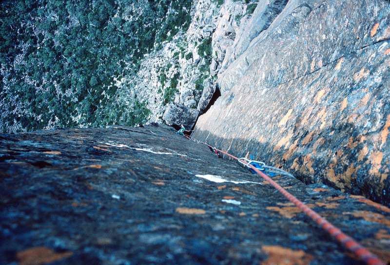 1983. February. Russ Clune (US) seconding Astro Boy (24). The Acropolis North Face. Lake St Clair, Tasmania.