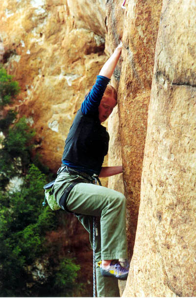 Megan on <i>The Dope Man</i> (18), Northern Grampians (first sport lead)