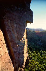 Malcolm (HB) Matheson leading the second pitch of Passport to Insanity (27), The Victoria Range, Grampians.