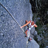 Edwin Young leading Lift Girls Lament (22), (Kate Hilton on belay), South Side of the Gorge, Mt Buffalo, Victoria.
