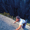 Malcolm Matheson on the first ascent of The Satanic Traverses (26), South Side of the Gorge, Mt Buffalo, Victoria.