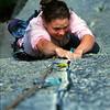 Kate Hilton seconding Lift Girls Lament (22), South Side of the Gorge, Mt Buffalo. Victoria, Australia.