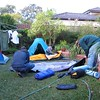 Setting up camp in the backyard in Sydney