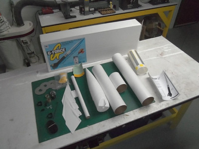 "Im going to start a new project called Max Force. This rocket as you can see is starting life as a Aerotech G Force. Just so you know. I really like Aerotech kits and this ""update"" has nothing to do with the quality or use of this kit. I have decide to build this as my first 38mm mount rocket. Here is a pic of the kit as it comes from Aerotech."